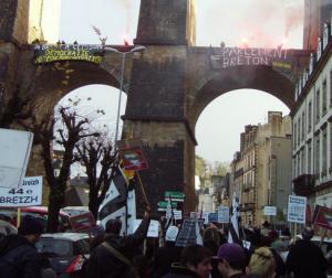Manifestation en faveur de l'unité de la Bretagne à Morlaix (ville de Marylise Le Branchu) décembre 2012