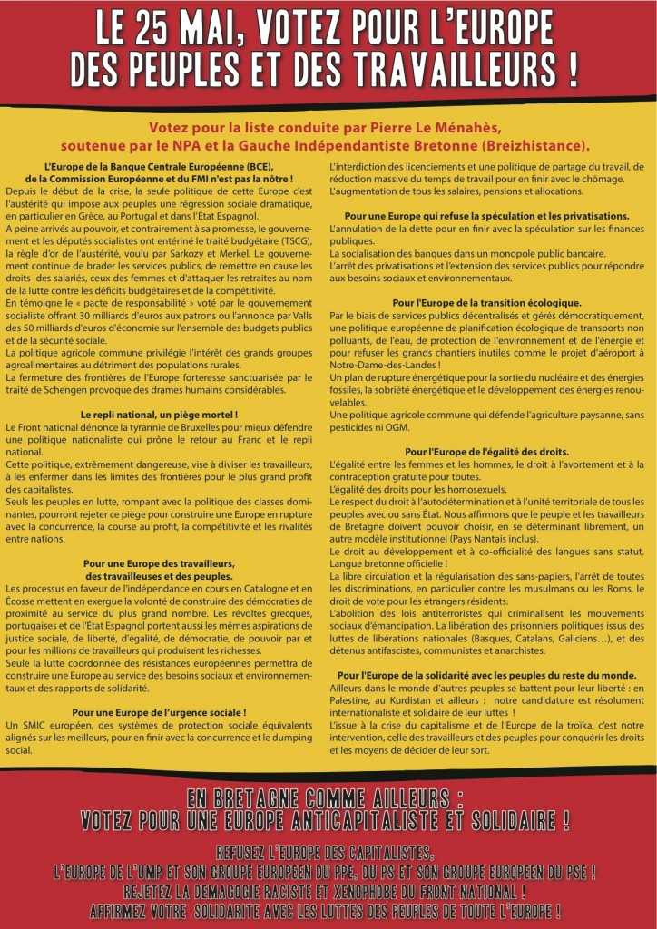 Flyer A4-Européennes 2014 NPA:Breizhistance_2