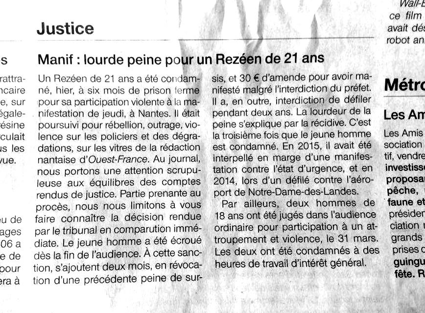 Article_Ouest_France_Manifestation_Loi_Travail_Nantes_2016_05_31