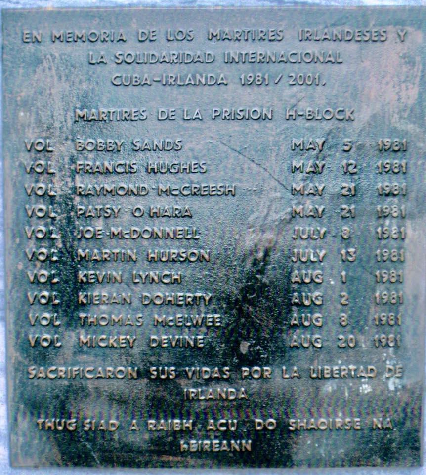 ur blakenn e koun Bobby Sands hag e gamaladed e Kuba