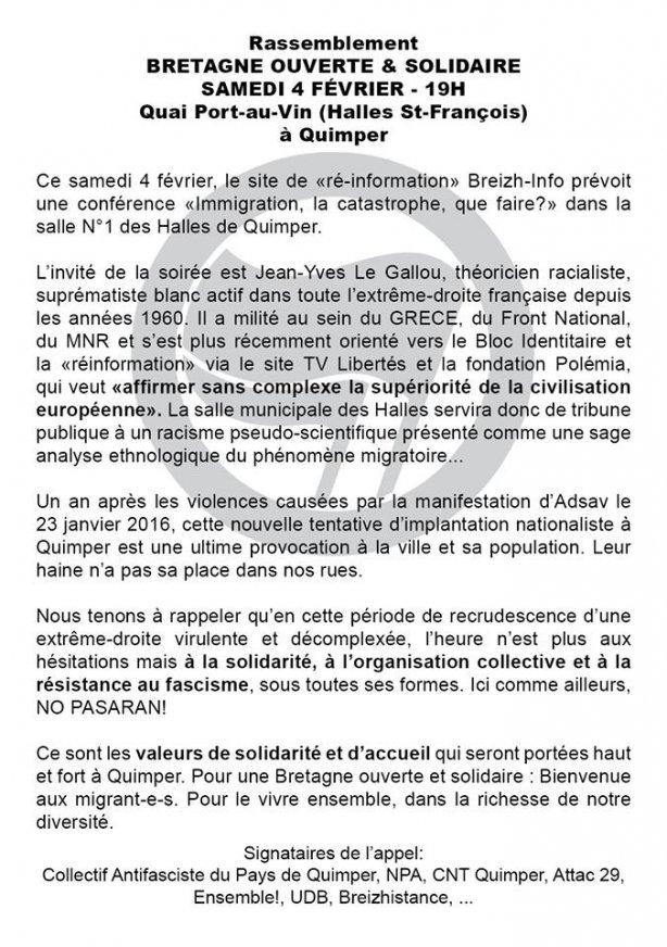 BRETAGNE_INFO_Tract_Manifestation_Antifasciste_Antiraciste_Quimper_Kemper
